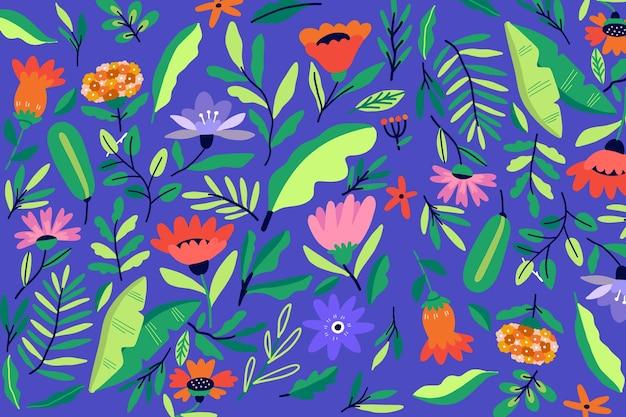 カラフルな頭が変な花柄の背景 無料ベクター