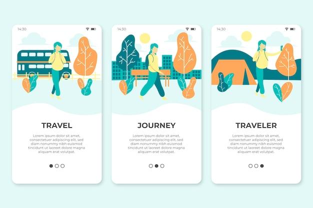 Экраны приложения для путешествий Бесплатные векторы