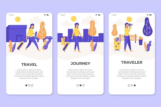 旅行のオンボーディングアプリ画面 無料ベクター