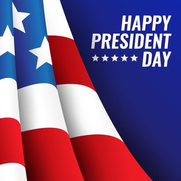 День президентов с реалистичным флагом Бесплатные векторы