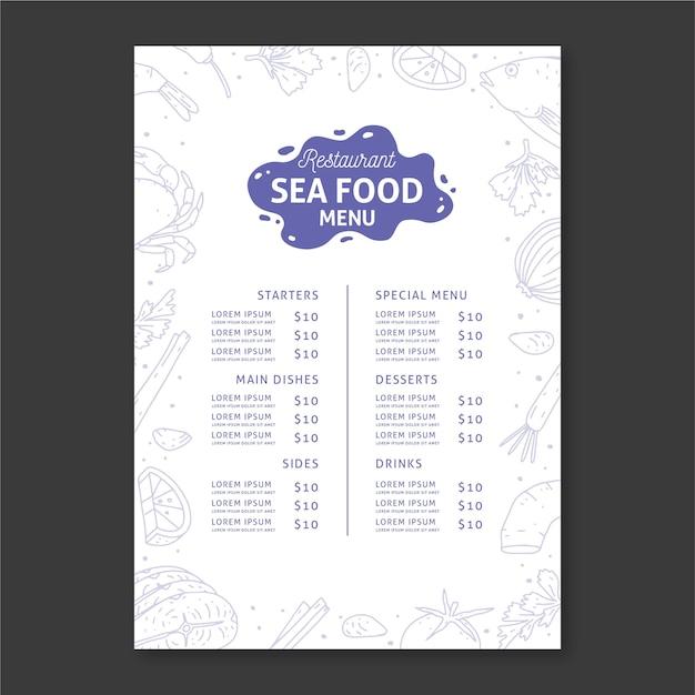 Шаблон меню ресторана морепродуктов Бесплатные векторы