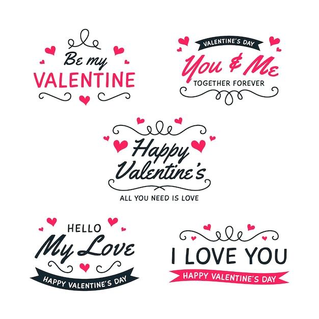 Коллекция бейджей ко дню святого валентина в плоском дизайне Бесплатные векторы