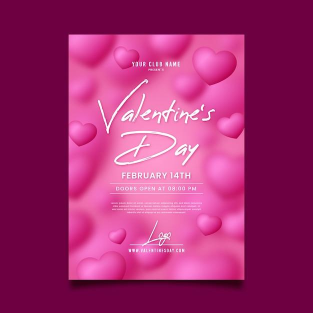 手描きのバレンタインパーティーフライヤーテンプレート 無料ベクター