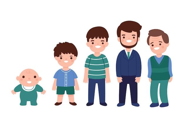 男性の男性の子供と異なる年齢の大人 無料ベクター