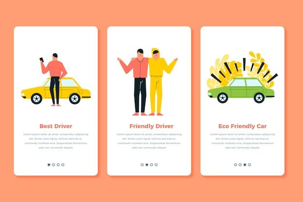 Такси службы экранирования приложений экраны Бесплатные векторы