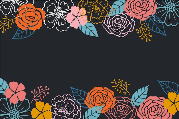 Розыгрыш цветов на фоне доски Бесплатные векторы