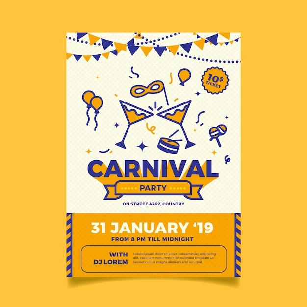 Плоский дизайн шаблона плаката карнавала партии Бесплатные векторы