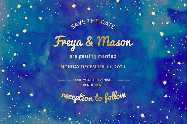 水彩銀河結婚式招待状 無料ベクター