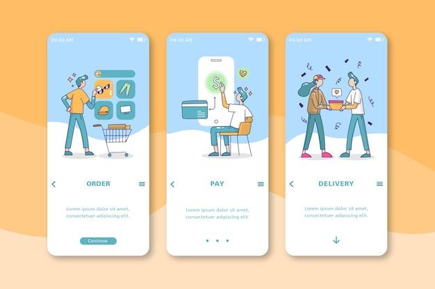 Люди покупают онлайн дизайн мобильного интерфейса Бесплатные векторы