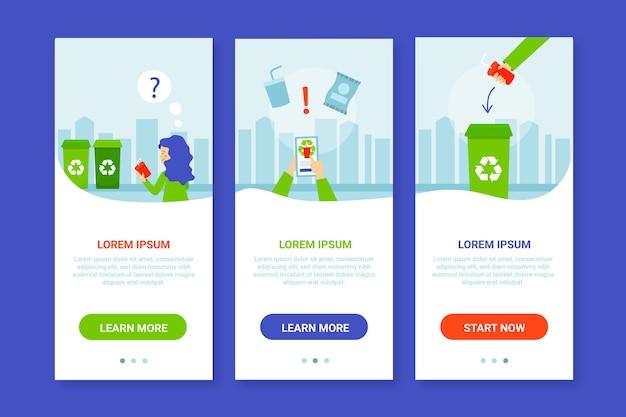 オンボーディングアプリの画面をリサイクルする 無料ベクター