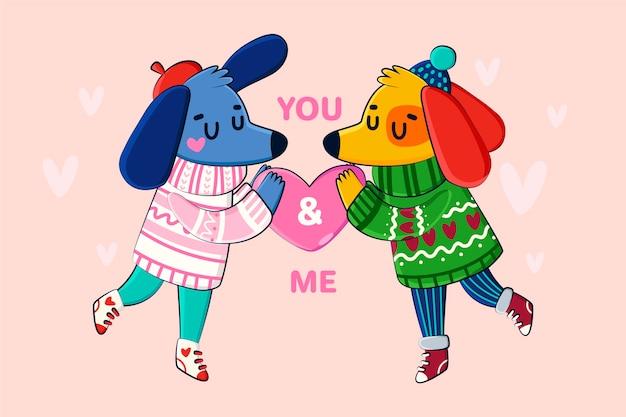 Собака пара рисованной валентина фон Бесплатные векторы