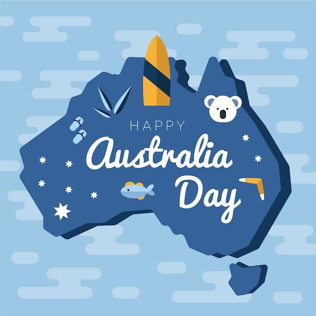平らなオーストラリアの日のお祝いのデザイン 無料ベクター