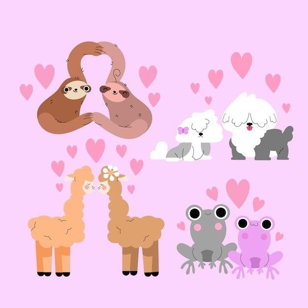 День святого валентина животных пара концепция Бесплатные векторы