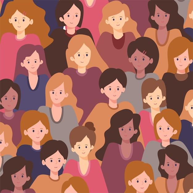 女性は女性の日のパターンに直面しています 無料ベクター