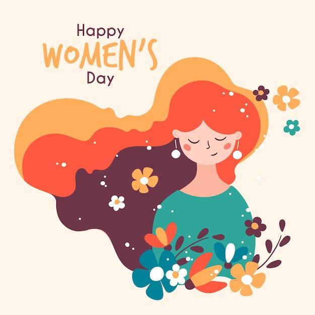 Цветочный женский день с поздравлением Бесплатные векторы