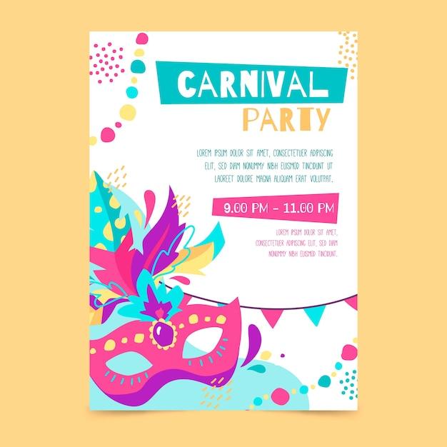 Нарисованный от руки плакат карнавальной вечеринки Бесплатные векторы