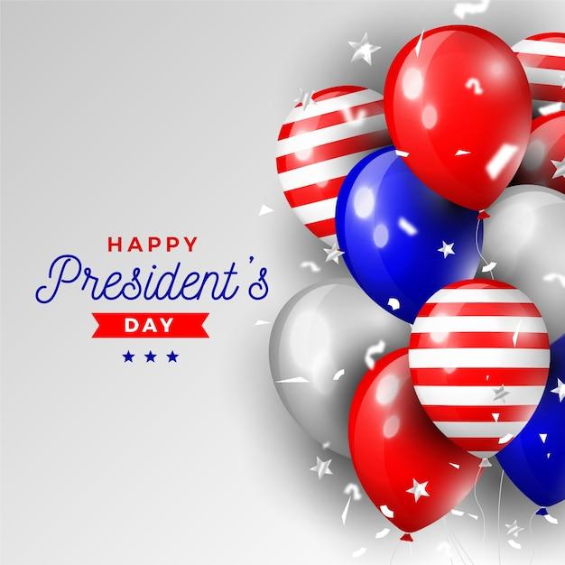 Президентский день с реалистичными воздушными шарами Бесплатные векторы