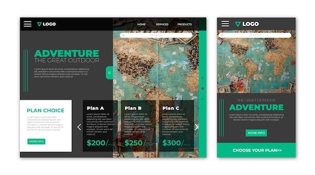 Целевая страница сайта о путешествиях Бесплатные векторы