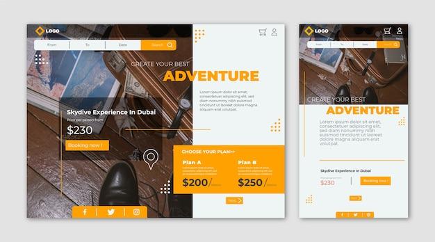 旅行ウェブサイトのランディングページ 無料ベクター