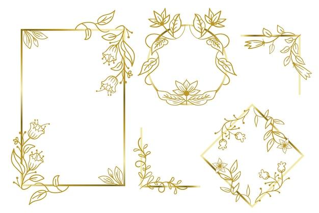 Золотые многоугольные рамы с элегантными цветами Бесплатные векторы