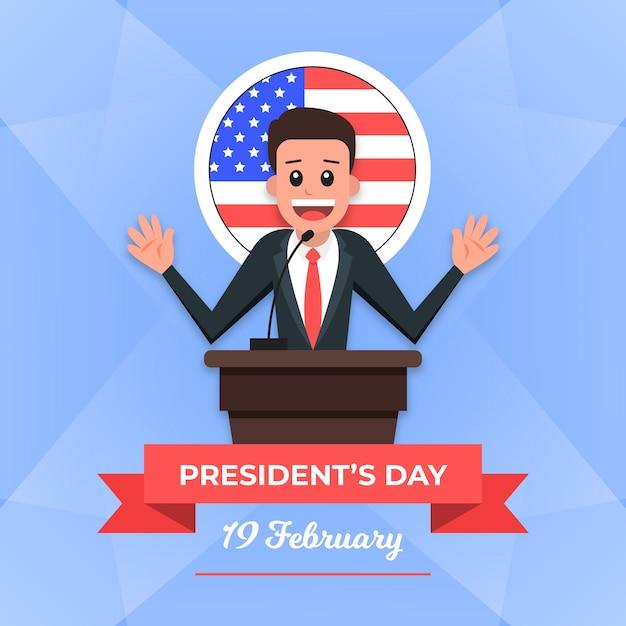 Плоский дизайн президентов день концепция Бесплатные векторы