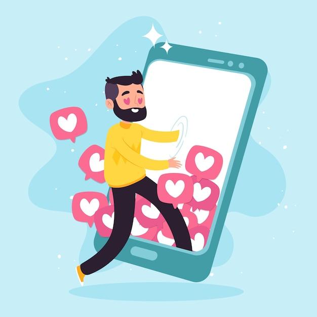 ソーシャルメディアの概念にはまっている人 無料ベクター