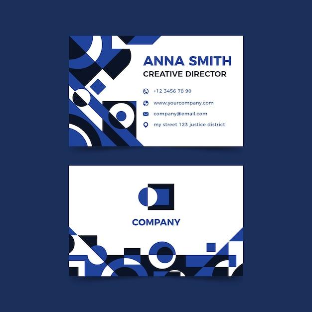 Дизайн шаблона визитной карточки с синим Бесплатные векторы