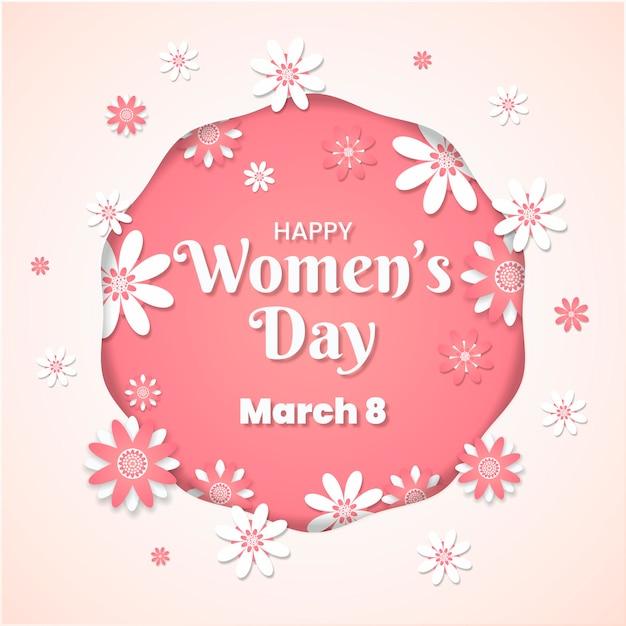 Женский день концепция в бумажном стиле Бесплатные векторы