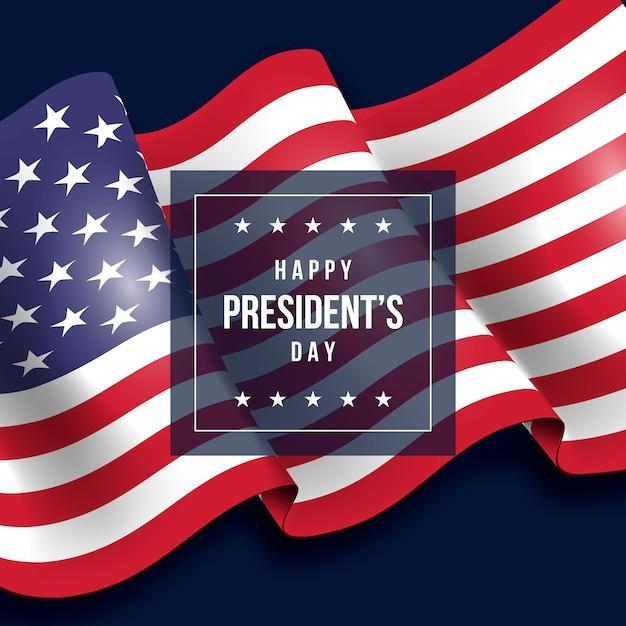 Президентский день с реалистичным фоном флага Бесплатные векторы