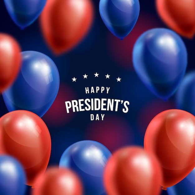День президента фон с реалистичными воздушными шарами Бесплатные векторы