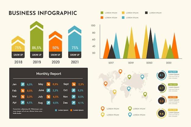 Плоский дизайн экологии инфографики с ретро-цвета Бесплатные векторы