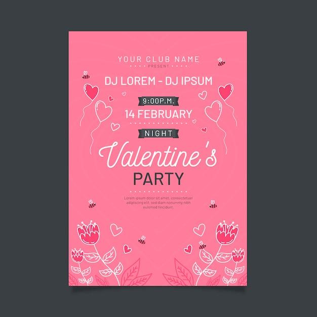 手描きのバレンタインパーティーポスターテンプレート 無料ベクター