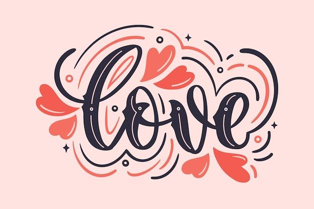 Любовные надписи в винтажном стиле Бесплатные векторы