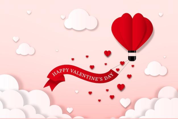 紙のスタイルでバレンタインデーの背景 無料ベクター