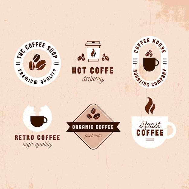 コーヒーショップレトロなロゴコレクションデザイン 無料ベクター