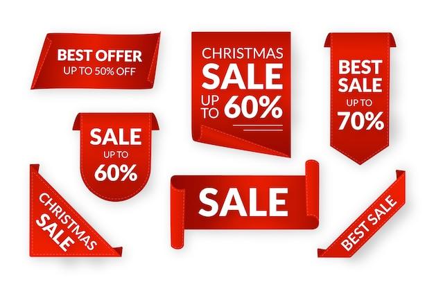 現実的な赤い販売ラベルコレクション 無料ベクター