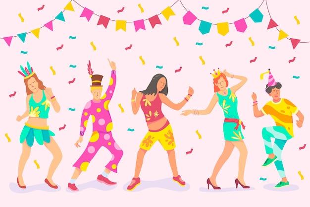 Иллюстрация с коллекцией карнавальных танцоров Бесплатные векторы