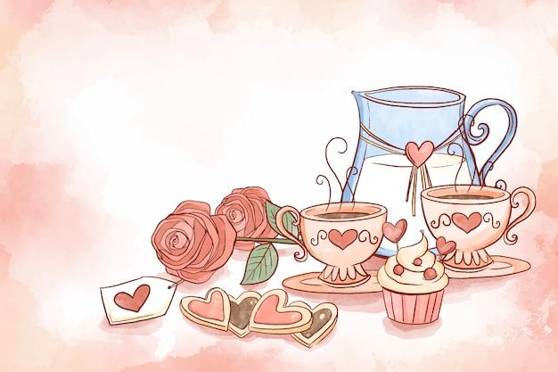 カップとピッチャーバレンタイン背景のセット 無料ベクター