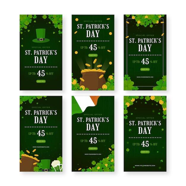 聖パトリックの日のソーシャルメディア投稿コレクション 無料ベクター