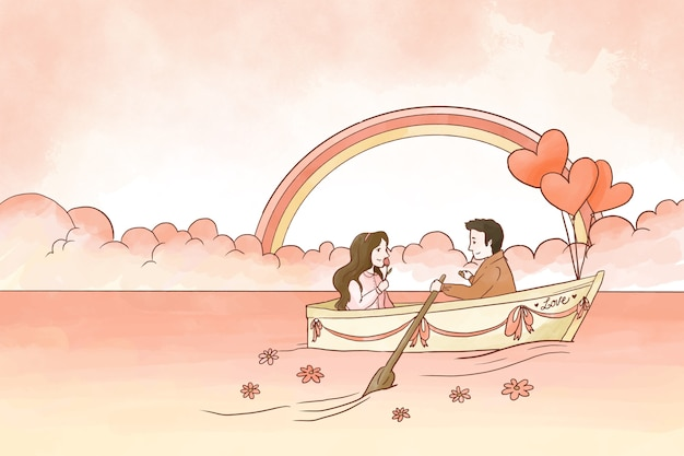 Счастливая пара на фоне лодки валентина Бесплатные векторы