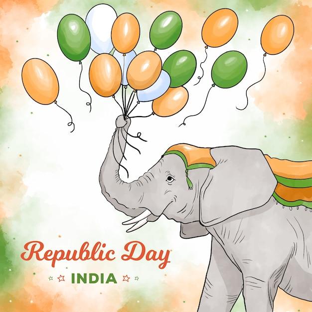 インド共和国記念日風船で遊ぶ象 無料ベクター