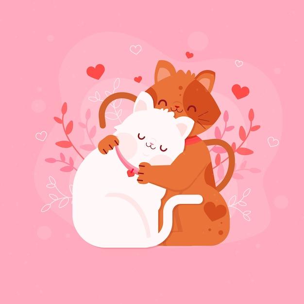 Плоский день святого валентина котята пара Бесплатные векторы