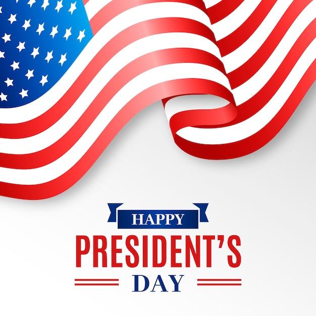 大統領の日の現実的な旗とレタリング 無料ベクター