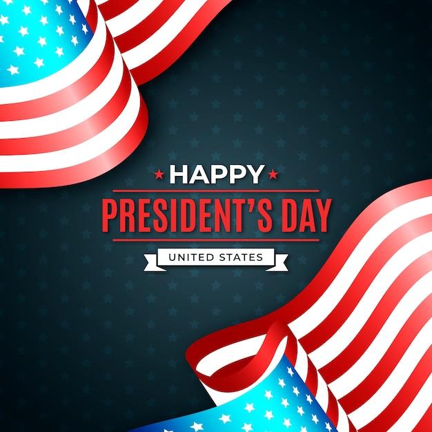 ハッピー大統領の日とフラグのペア 無料ベクター
