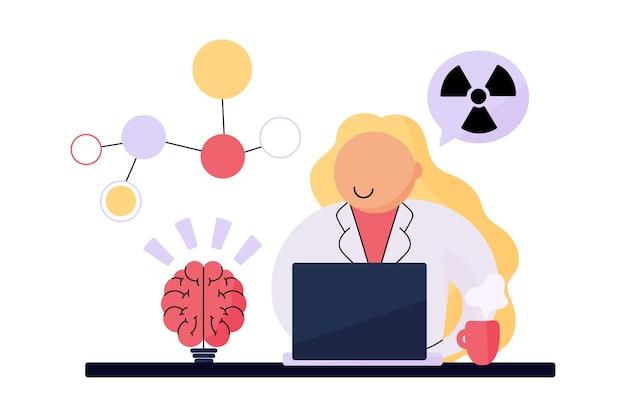 Женский ученый, работающий с радиоактивными химическими веществами Бесплатные векторы