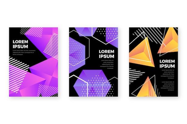 暗い背景に幾何学的なグラデーション図形カバー 無料ベクター
