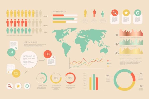 Инфографика с ретро-дизайном цветов Бесплатные векторы
