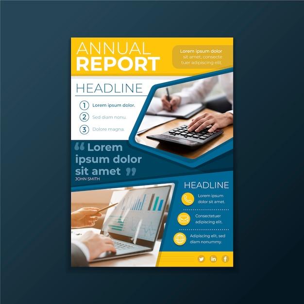写真と抽象的な年次報告書テンプレート 無料ベクター