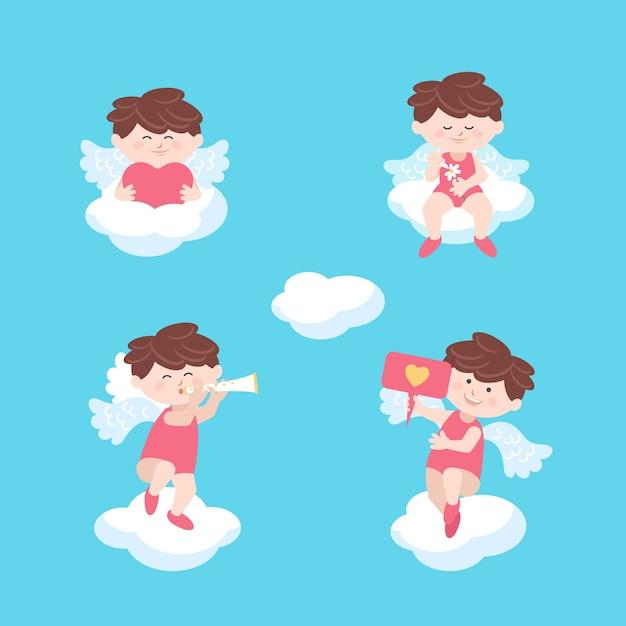 雲のバレンタインデーに座っているキューピッドの天使 無料ベクター
