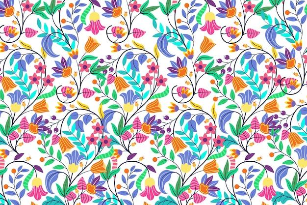 Красочный экзотический цветочный дизайн обоев Бесплатные векторы